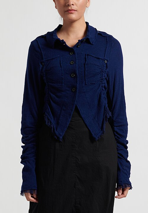 Rundholz Dip Short Button-Up Cardigan in Blue