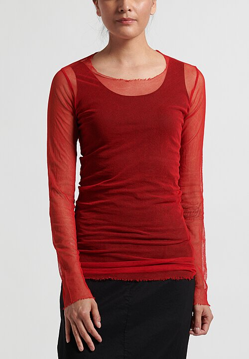 Rundholz Dip Long Cotton-Mesh T-Shirt in Red