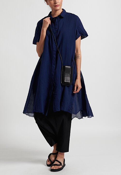 Rundholz Dip Lightweight Button-Up Dress in Navy Blue
