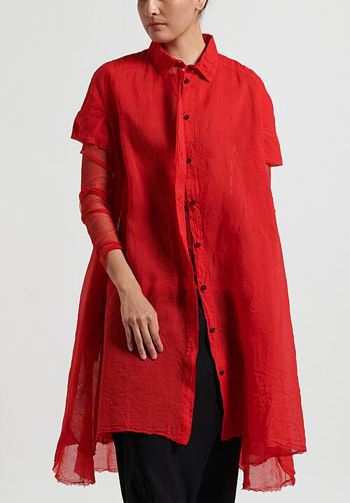 Rundholz Dip Lightweight Button-Up Dress in Red