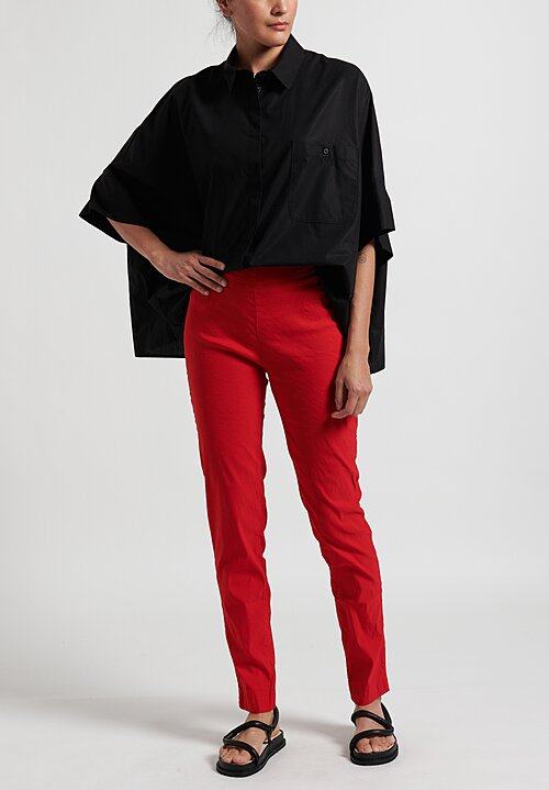 Rundholz Dip Straight Leg Stretch Pants in Red