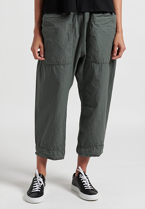 Album Di Famiglia Drop Crotch Trousers in Clay Green