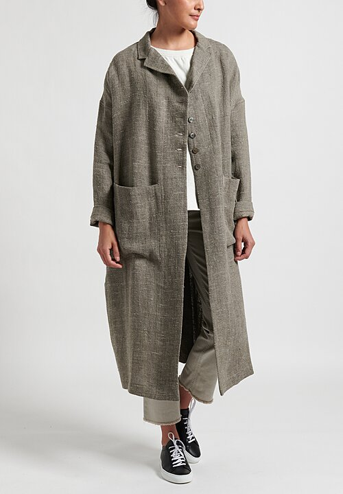 Album Di Famiglia Long Linen Coat in Grey