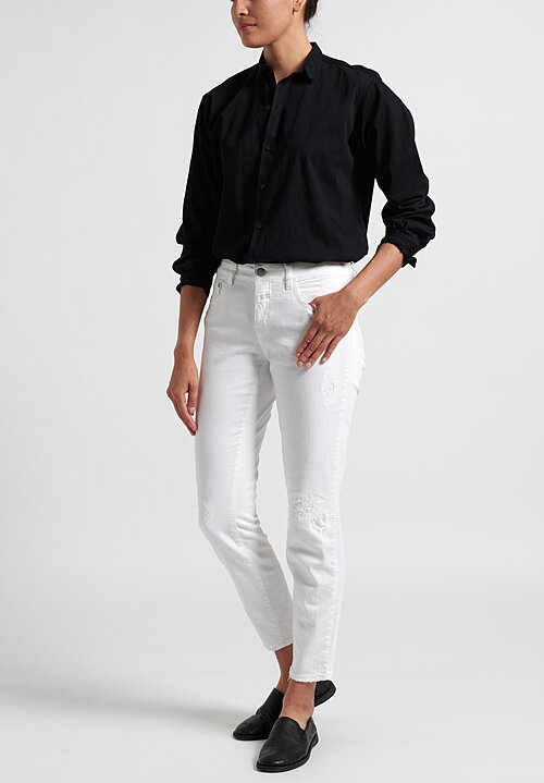Closed Baker Cropped Distressed Hem Jeans in White