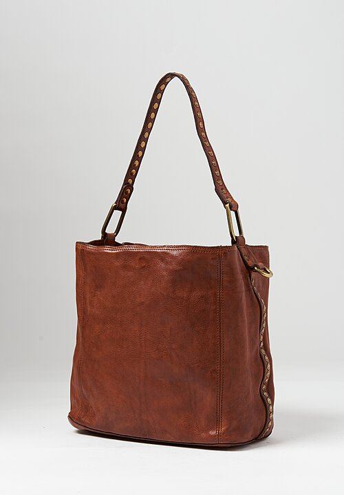 Campomaggi Riveted Shopping Tote in Cognac