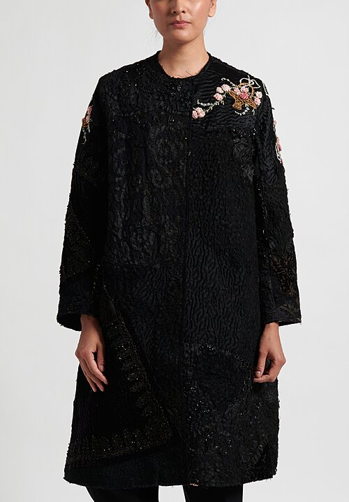 By Walid 19th C. Embroidery Tanita Coat in Black