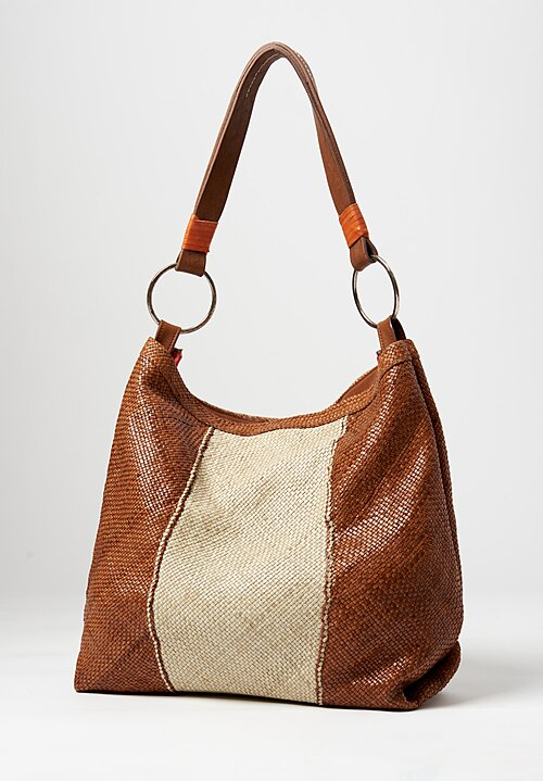 Massimo Palomba Calypso Madras Shoulder Bag Cuoio-Gesso Brown-White