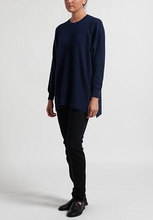 Hania New York Cashmere Marley Crewneck in Inkwell Blue