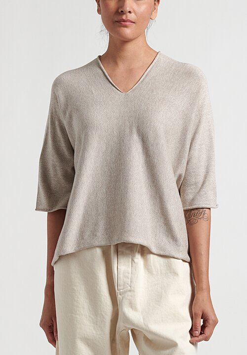 Lauren Manoogian Pima Cotton/Mulberry Silk Horizontal Huipil VNeck