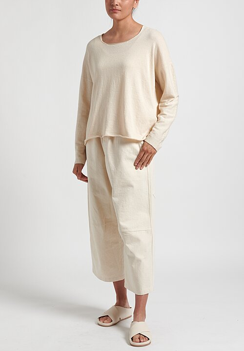 Lauren Manoogian Longsleeve U-Neck Tee in Cream