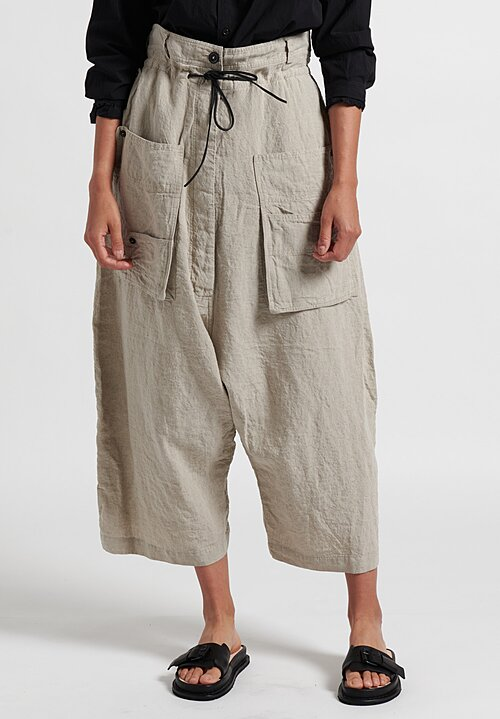 Rundholz Drawstring Drop Crotch Pants in Ciment