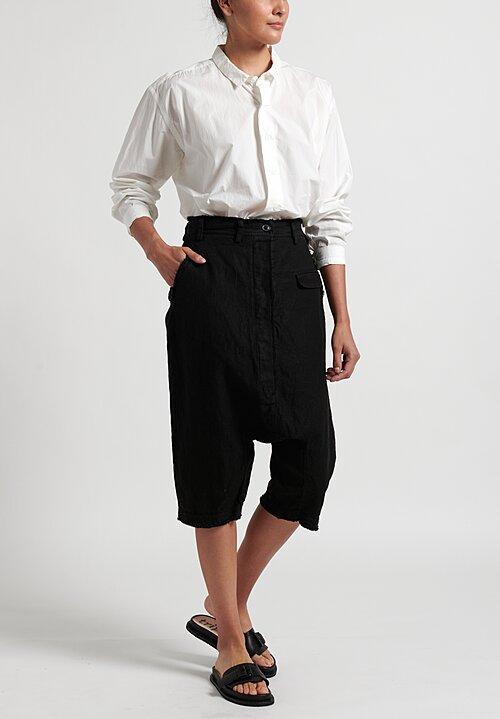 Rundholz Cropped Drop Crotch Pants in Black