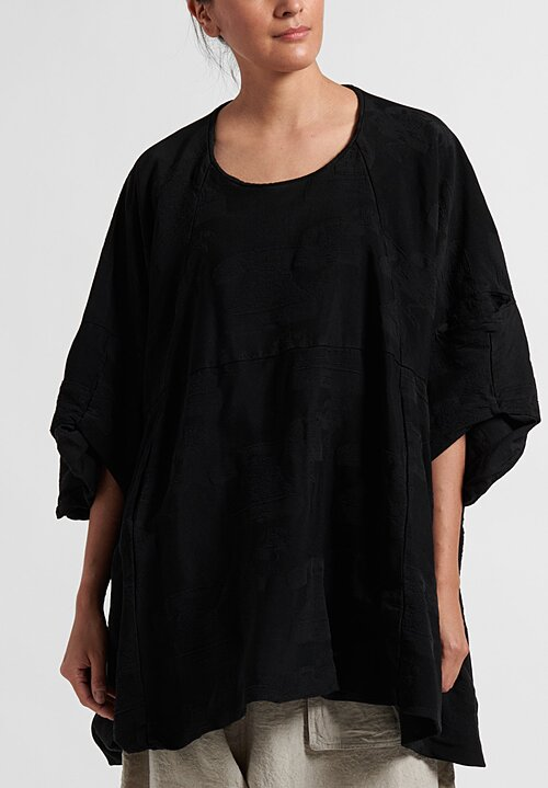 Rundholz Oversize Embroidered Tele Top in Black