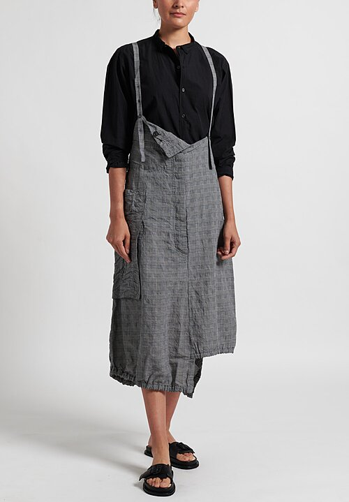 Rundholz Multi-Pocket Overall Dress in Black Checkers