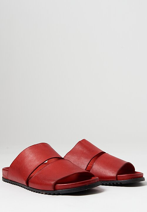 Rundholz Dip Leather Slip-On Sandal in Red
