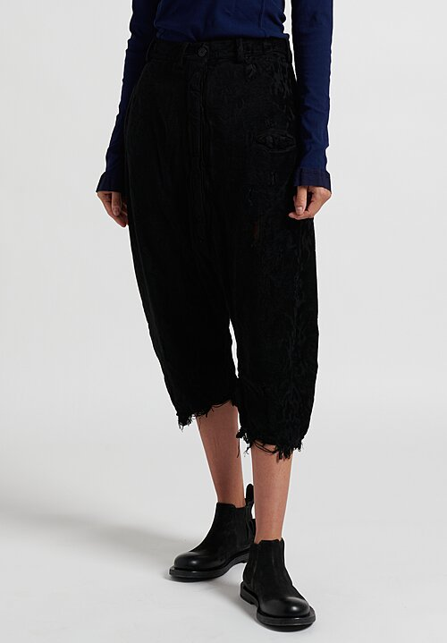 Rundholz Dip Mid-Rise Distressed Drop Cortch Pants in Black