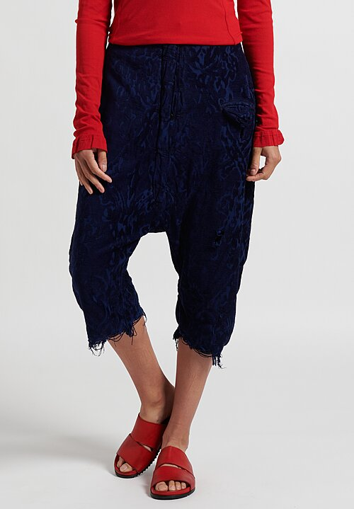 Rundholz Dip Cropped Jacquard Drop Crotch Pants in Blue
