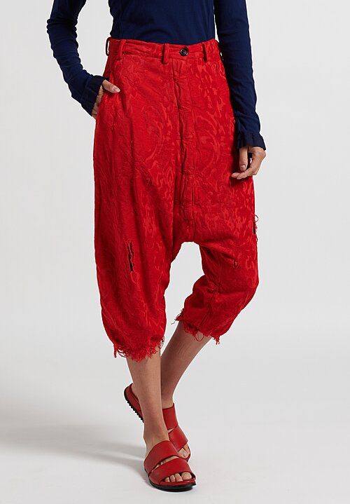 Rundholz Dip Cropped Jacquard Drop Crotch Pants in Red