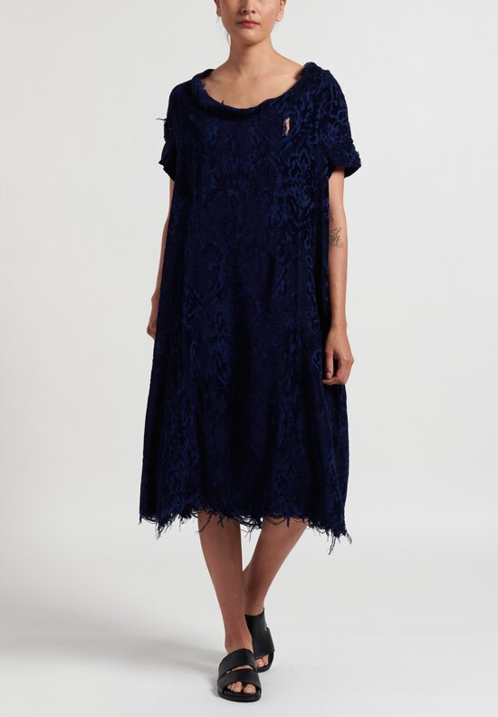 Rundholz Dip Distressed Jacquard Dress in Blue
