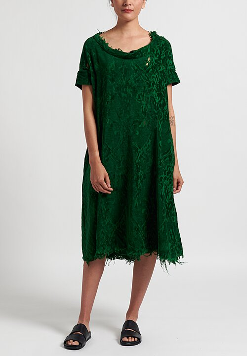 Rundholz Dip Distressed Jacquard Dress in Green