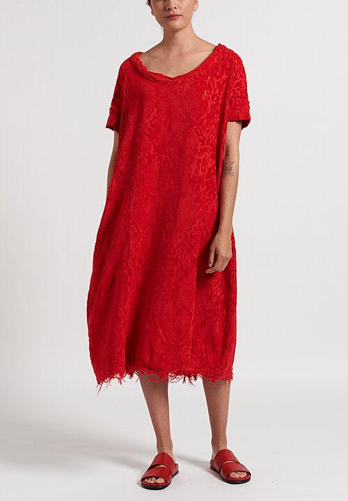 Rundholz Dip Distressed Jacquard Dress in Red