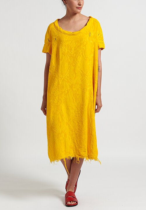 Rundholz Dip Distressed Jacquard Dress in Yellow
