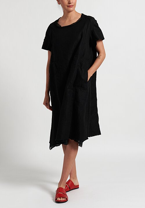 Rundholz Dip Frayed Hem Dress in Black