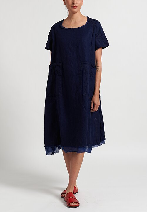 Rundholz Dip Frayed Hem Dress in Blue