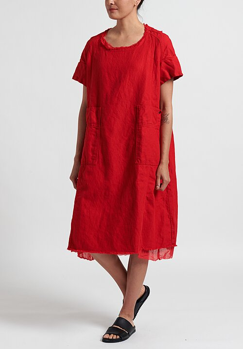 Rundholz Dip Woven Frayed Hem 1/4 Sleeve Dress