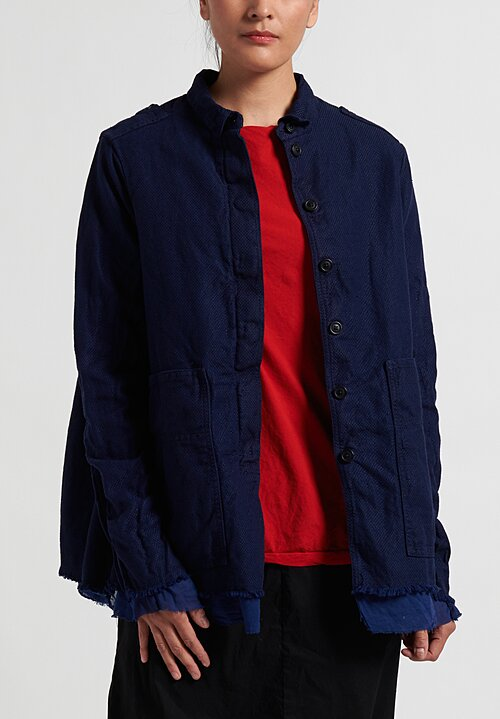 Rundholz Dip Woven Frayed Hem Jacket in Blue