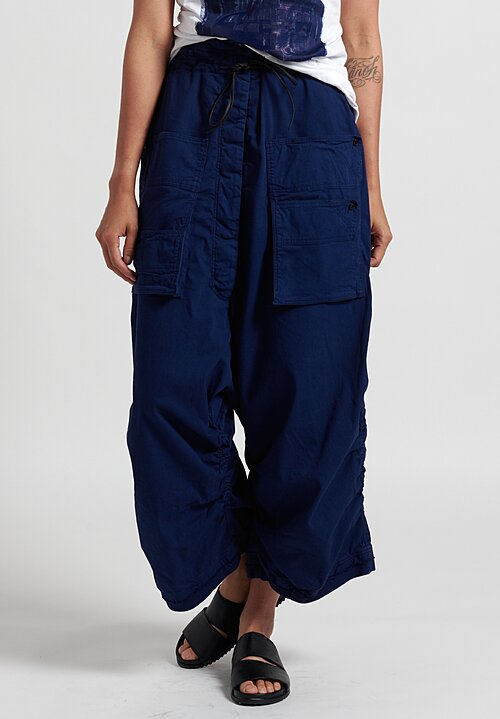 Rundholz Dip Multi-Pocket Drop Crotch Pants in Blue