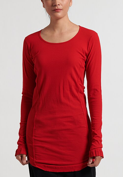 Rundholz Dip Long Raw Edge T-Shirt in Red