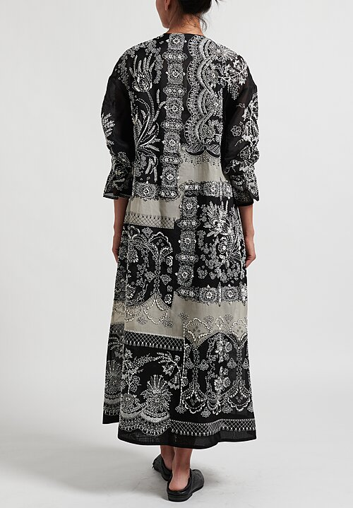 Biyan Rellai Embroidered Organza Silk A-Line Coat in Black and Beige