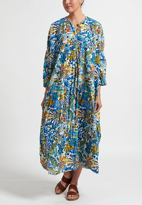 Daniela Gregis Cotton Oversize Chicory Washed Dress in White/Leaves Blue Flowers