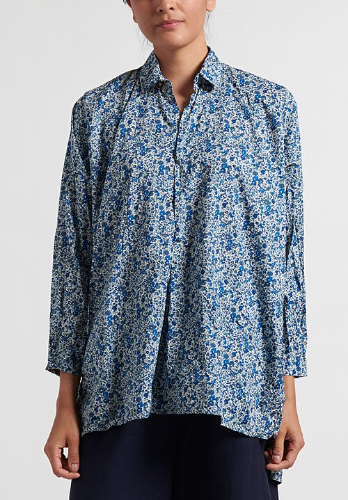 Daniela Gregis Chicory Fratello Shirt in White & Blue Floral