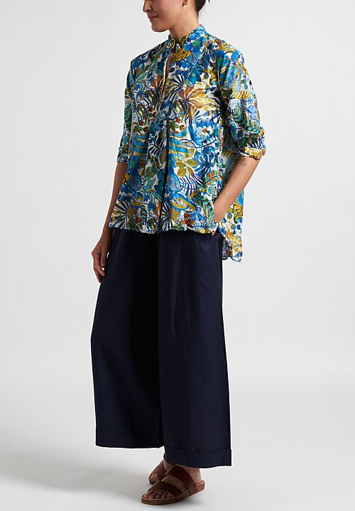 Daniela Gregis Sun Washed Kora Shirt in White Leaves & Blue Flowers
