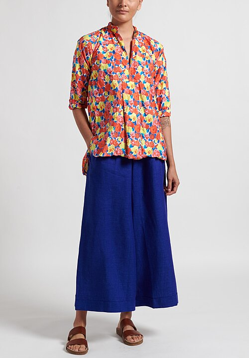 Daniela Gregis Sun Washed Kora Shirt in Pink, Red & Yellow Flowers