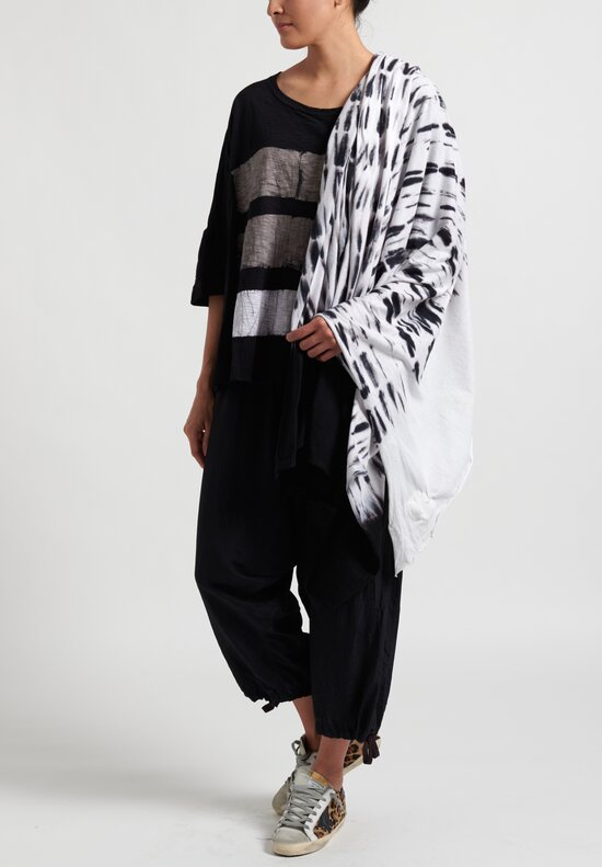 Gilda Midani Pattern Dyed Waterfall Scarf in Black and White