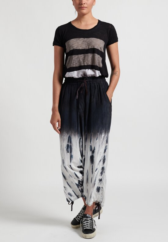 Gilda Midani Waterfall Pattern Dyed Silk Y Pants in Black White