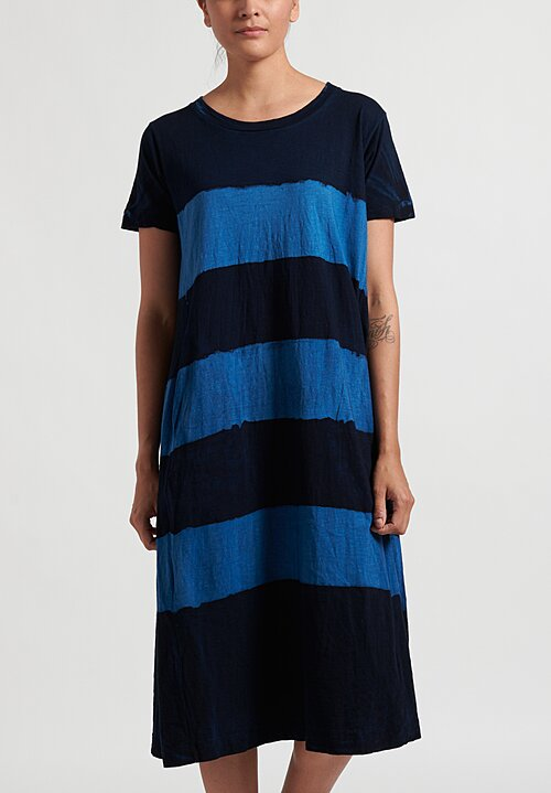 Gilda Midani Pattern Dyed Short Sleeve Maria Dress in Stripes Deep Blue + Klein