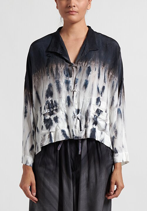 Gilda Midani Waterfall Printed Orient Shirt in Black and White