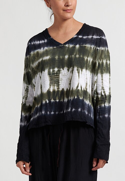 Gilda Midani Pattern Dyed VNeck Longsleeve Trapeze Top in Green Row