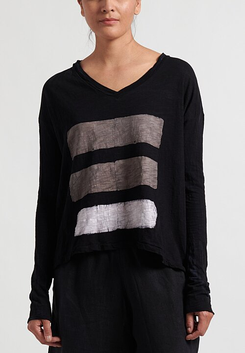 Gilda Midani Brush Stroke VNeck Longsleeve Trapeze Top in Taupe, White and Black