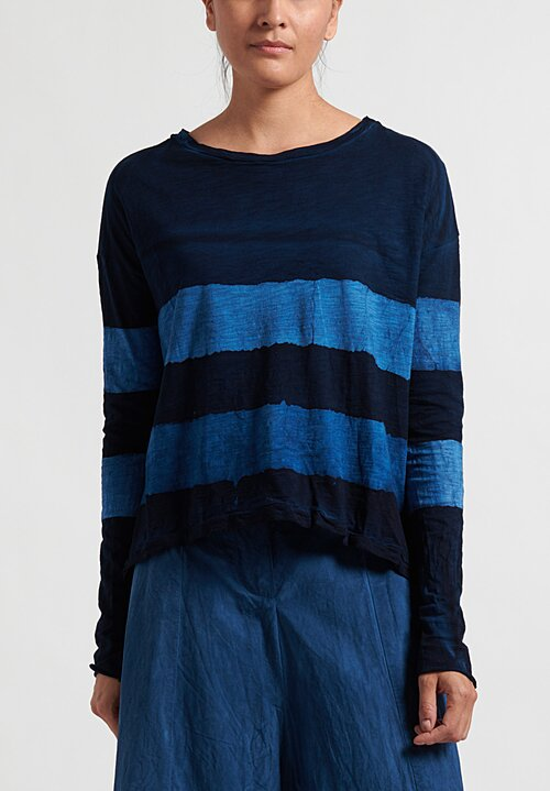 Gilda Midani Striped Long Sleeve Trapeze Tee in Deep Blue and Klein