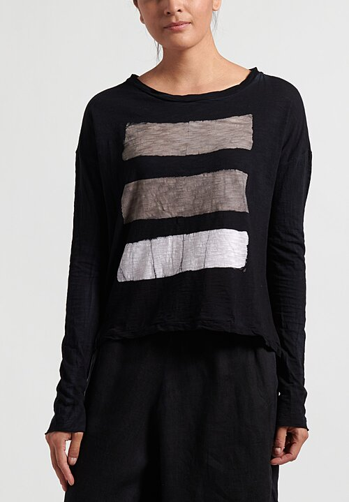 Gilda Midani Brush Stroke Long Sleeve Trapeze Tee in Taupe, White and Black