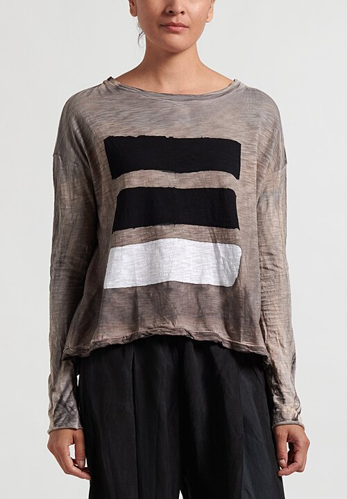 Gilda Midani Brush Stroke Long Sleeve Trapeze Tee in Black, White and Taupe