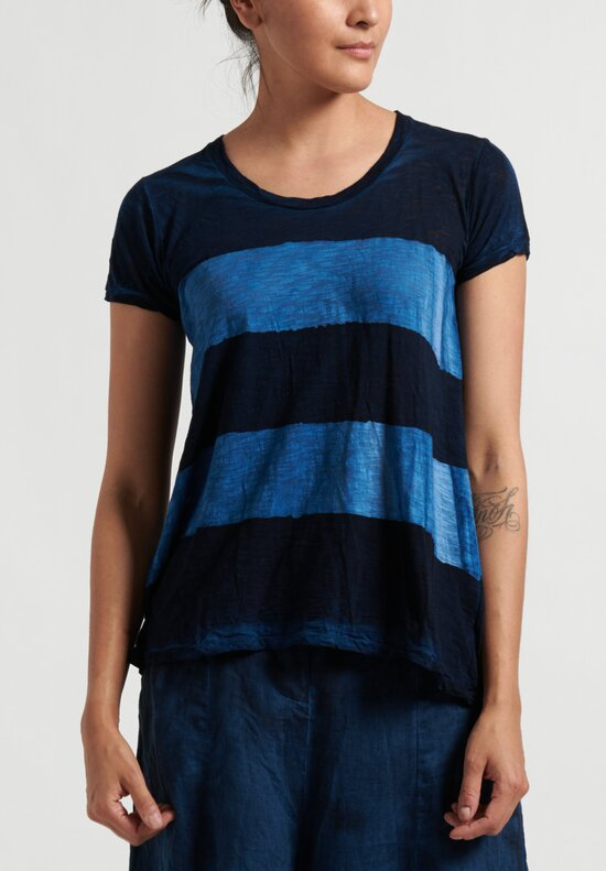 Gilda Midani Striped Short Sleeve Monoprix Tee in Deep Blue and Klein