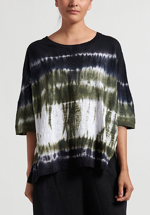Gilda Midani Pattern Dyed Short Sleeve Super Tee in Green Row