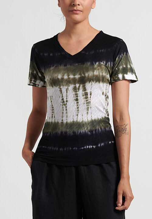 Gilda Midani Pattern Dyed V-Neck Short Sleeve Top in Green Row