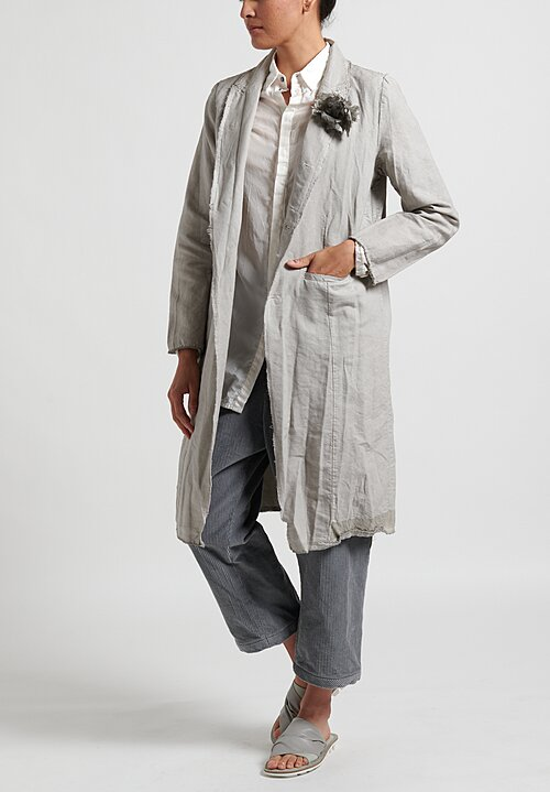 Umit Unal Frayed Edge Flower Coat in Light Grey